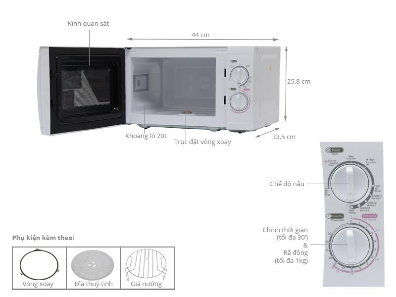 Thông số kỹ thuật Lò vi sóng Sanyo EM-G2088V(VE3) 20 lít