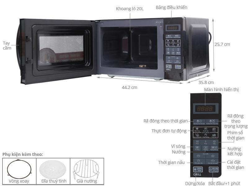 Thông số kỹ thuật Lò vi sóng Sharp R-G273VN-B 20 lít