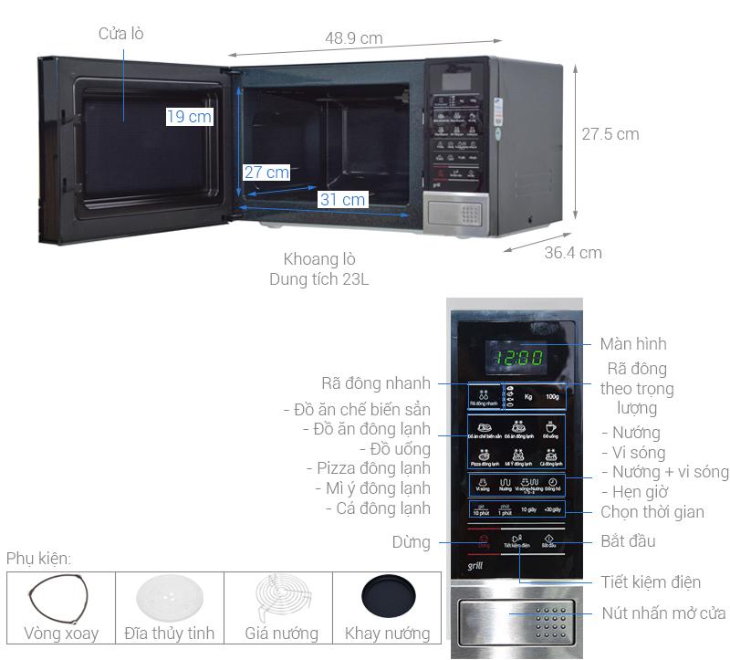 Thông số kỹ thuật Lò vi sóng Samsung GE83DST-T1 23 lít