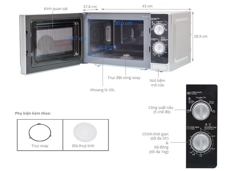 Thông số kỹ thuật Lò vi sóng Sharp R-205VN(S) 20 lít