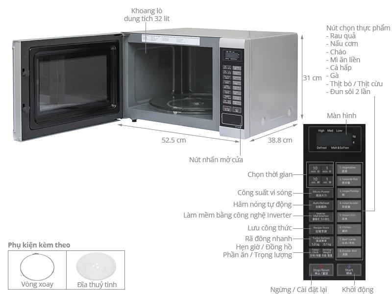 Thông số kỹ thuật Lò vi sóng Panasonic PALM-NN-ST651MYUE 32 lít