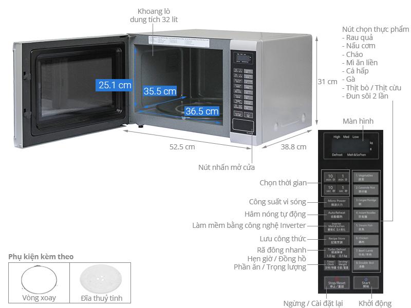 Thông số kỹ thuật Lò vi sóng inverter Panasonic PALM-NN-ST651MYUE 32 lít