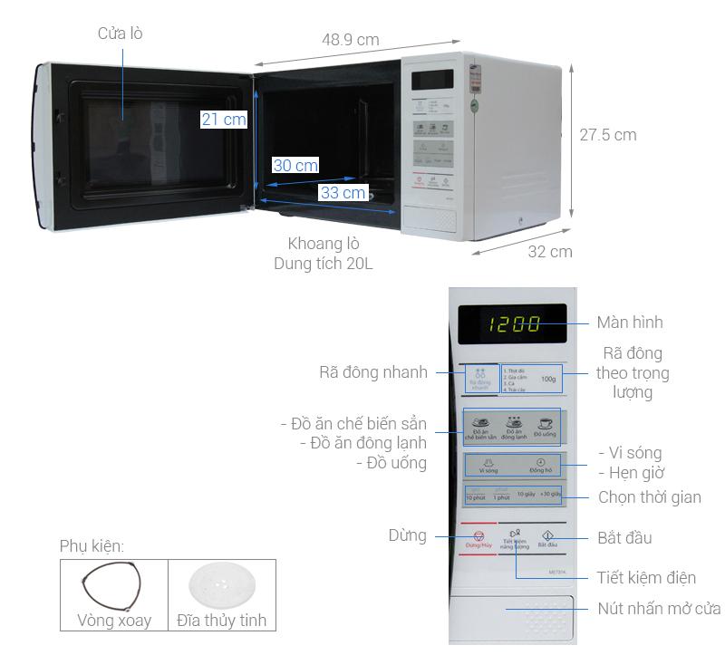 Thông số kỹ thuật Lò vi sóng Samsung ME731K 20 lít