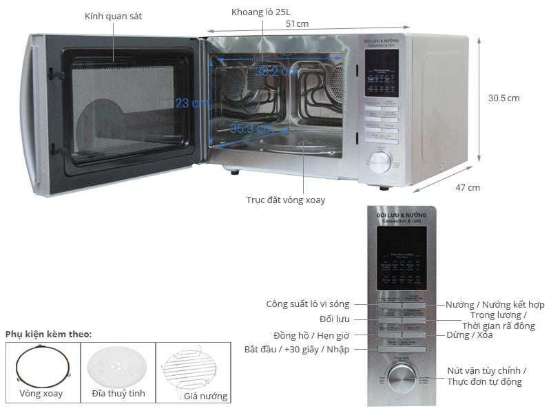 Thông số kỹ thuật Lò vi sóng Sharp R-C825VN(ST) 25 lít