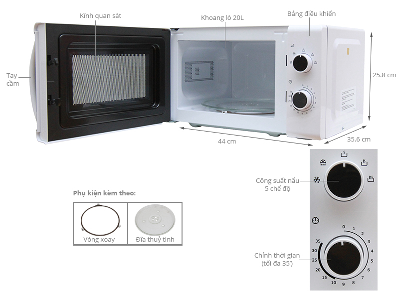 Thông số kỹ thuật Lò vi sóng Electrolux EMM2009W 20 lít