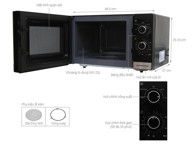 Thông số kỹ thuật Lò vi sóng Electrolux EMM2308X 23 lít