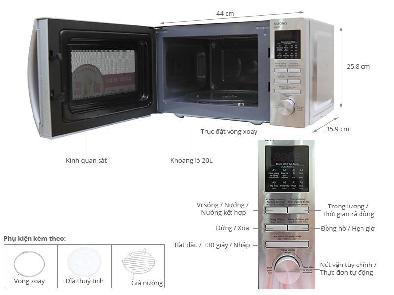 Thông số kỹ thuật Lò vi sóng Sharp R-G620 VN (ST) 20 lít
