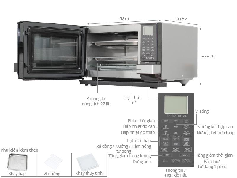 Thông số kỹ thuật Lò vi sóng Sharp AX-1100VN(S) 27 lít