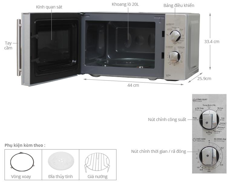 Thông số kỹ thuật Lò vi sóng Sharp R-G227VN-M 20 lít