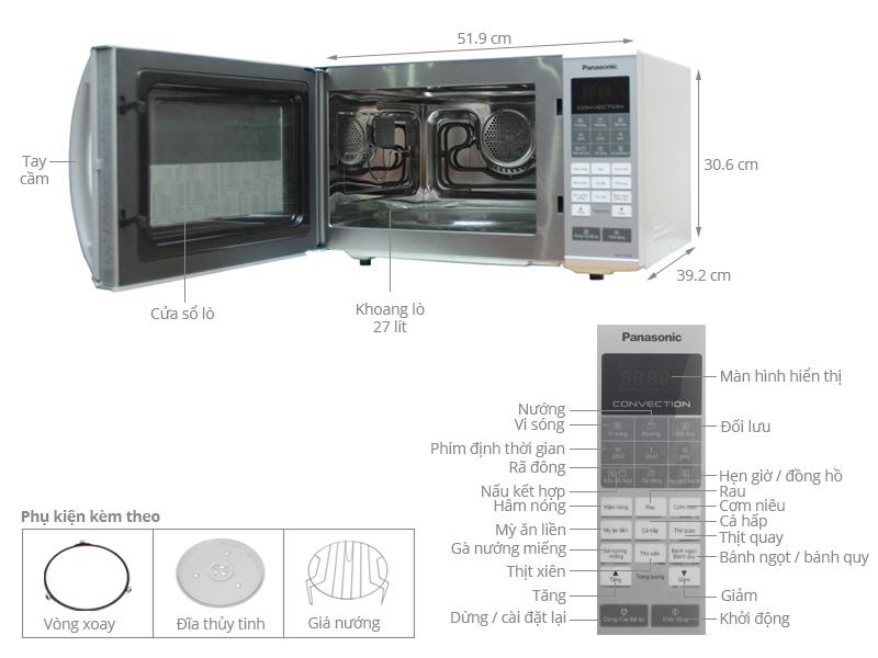 Thông số kỹ thuật Lò vi sóng Panasonic PALM-NN-CT655MYUE 27 lít