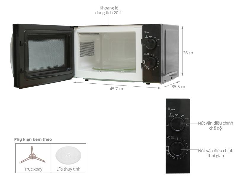 Thông số kỹ thuật Lò vi sóng Whirlpool MWX201BL 20 lít