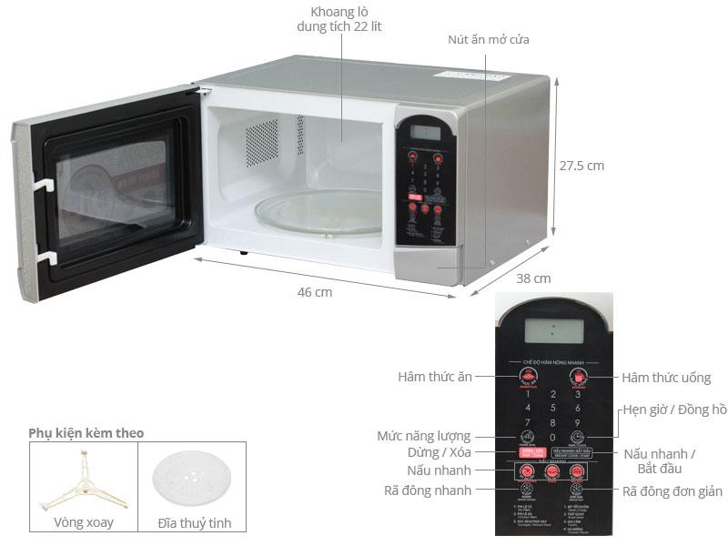 Thông số kỹ thuật Lò vi sóng Sharp R-25D1(S)VN 22 lít