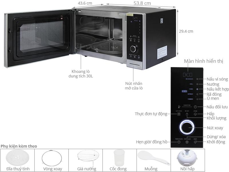Thông số kỹ thuật Lò vi sóng Electrolux EMS3085X 30 lít