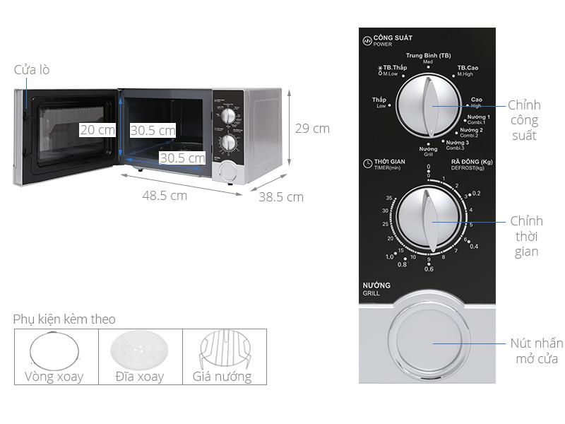 Thông số kỹ thuật Lò vi sóng Sharp R-G302VN-S 23 lít
