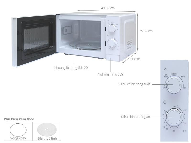 Thông số kỹ thuật Lò vi sóng Electrolux EMM2022MW 20 lít