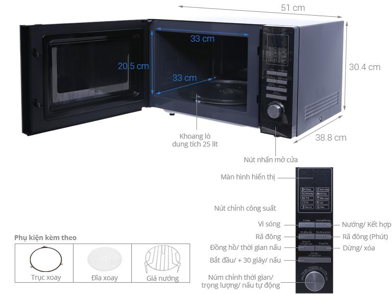 Thông số kỹ thuật Lò vi sóng Midea MMO-25A33 25 lít