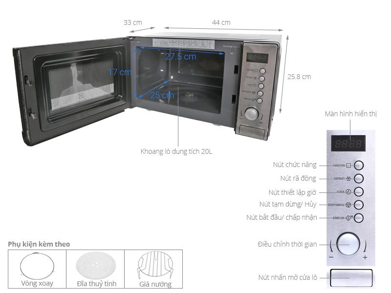 Thông số kỹ thuật Lò vi sóng Electrolux EMS2027GX 20 lít