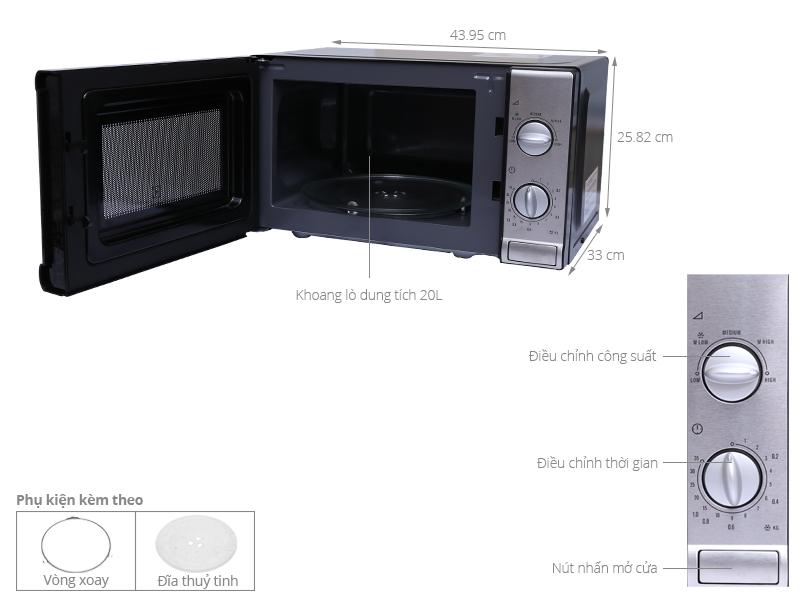 Thông số kỹ thuật Lò vi sóng Electrolux EMM2026MX 20 lít