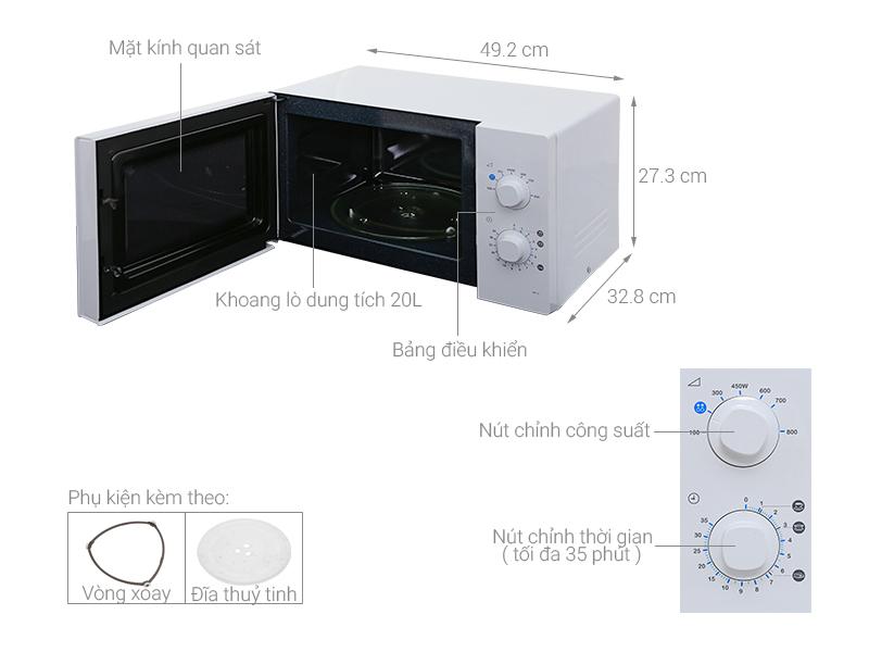 Thông số kỹ thuật Lò vi sóng Samsung ME71A/SV 20 lít