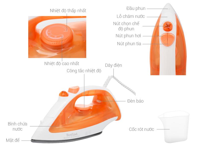 Thông số kỹ thuật Bàn ủi hơi nước Tefal FV1022T0