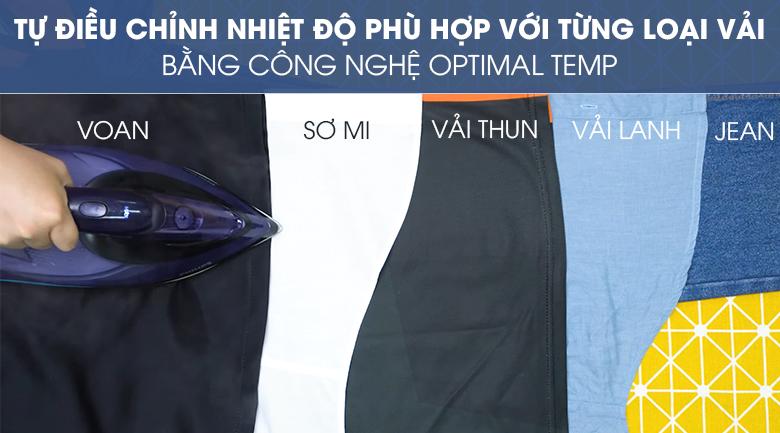 Tự động điều chỉnh nhiệt phù hợp - Bàn ủi hơi nước Philips GC5039