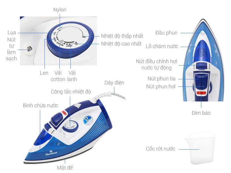 Thông số kỹ thuật Bàn ủi hơi nước Bluestone SIB-3806