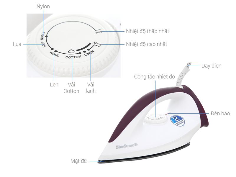 Thông số kỹ thuật Bàn ủi khô Bluestone DIB-3726