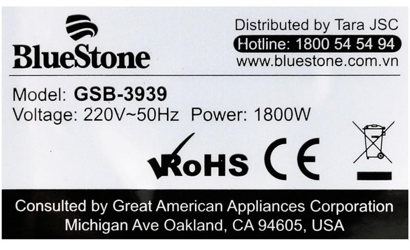 Công suất 1800 W - Bàn ủi hơi nước Bluestone GSB-3939