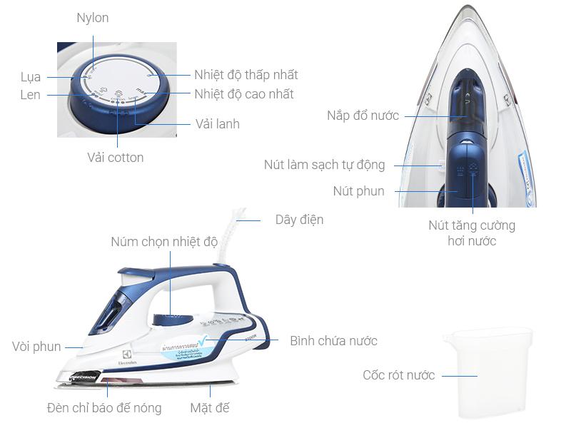 Thông số kỹ thuật Bàn ủi hơi nước Electrolux ESI6123