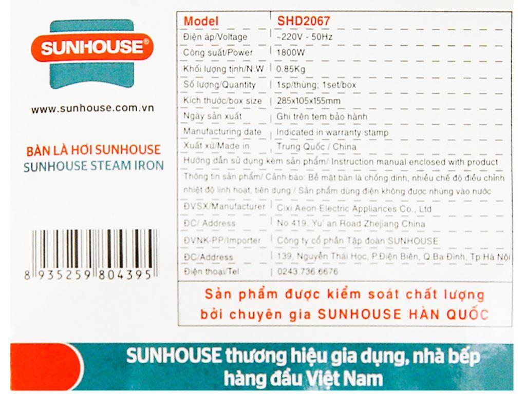 Bàn ủi hơi nước Sunhouse SHD2067 8