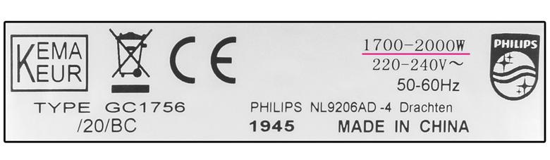 Công suất cao - Bàn ủi hơi nước Philips GC1756
