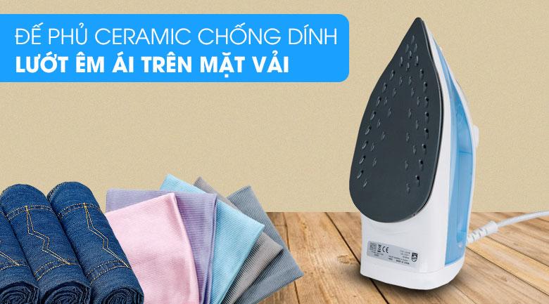 Mặt đế bàn ủi phủ chống dính Ceramic bóng sáng - Bàn ủi hơi nước Philips GC1740