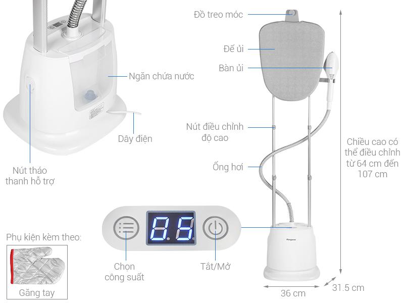 Thông số kỹ thuật Bàn ủi hơi nước đứng Kangaroo KG-75B8