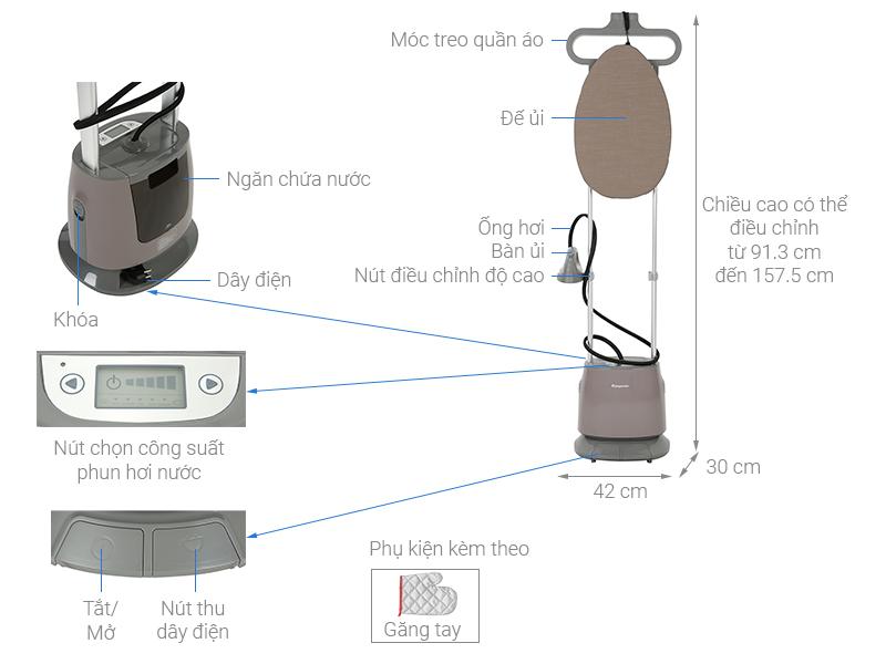 Thông số kỹ thuật Bàn ủi hơi nước đứng Kangaroo KG-75B11