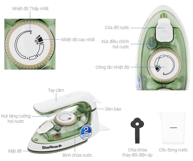 Thông số kỹ thuật Bàn ủi hơi nước Bluestone SIB-3819