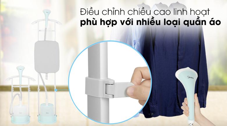 Thay đổi chiều cao - Bàn ủi hơi nước đứng Midea MHI-G20R1 Xanh