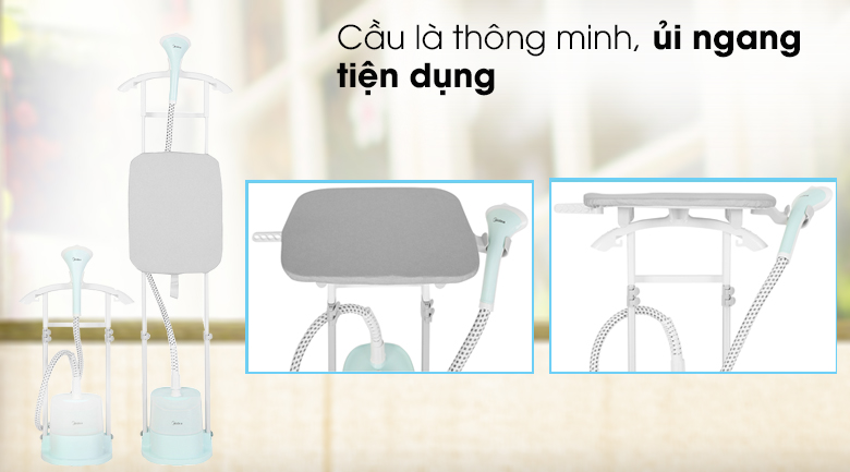 Ủi ngang tiện dụng - Bàn ủi hơi nước đứng Midea MHI-G20R1 Xanh