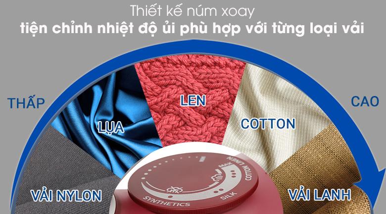 Bàn ủi hơi nước Philips GC2997 - Núm vặn chỉnh nhiệt độ ủi phù hợp với từng chất liệu vải