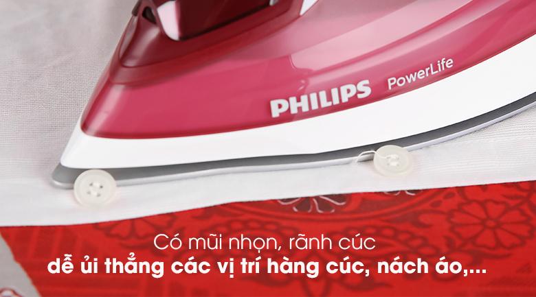 Bàn ủi hơi nước Philips GC2997 - Rãnh cúc, mũi nhọn cho bạn di chuyển bàn ủi đến các khu vực khó tiếp cận dễ dàng