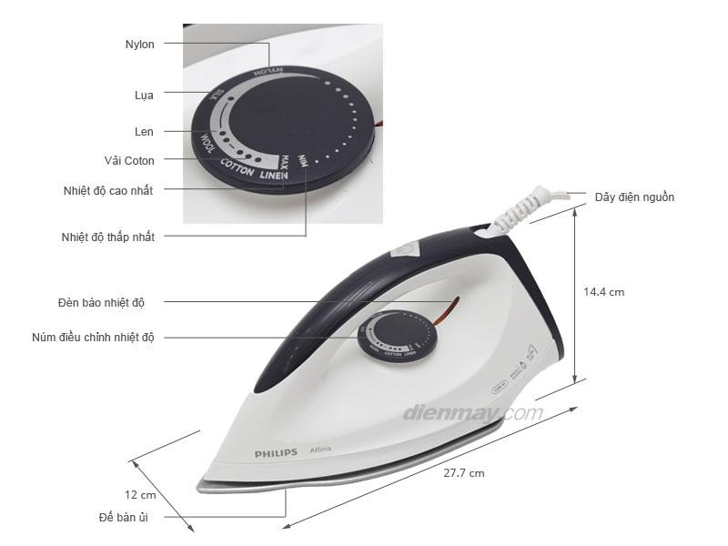 Thông số kỹ thuật Bàn ủi khô Philips GC160