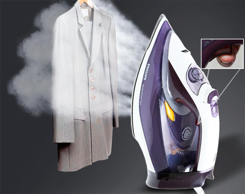 Ủi quần áo còn đang treo lên móc dễ dàng với bàn ủi hơi nước đứng