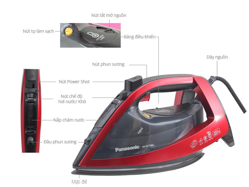 Thông số kỹ thuật Bàn ủi hơi nước Panasonic NI-WT980RRA