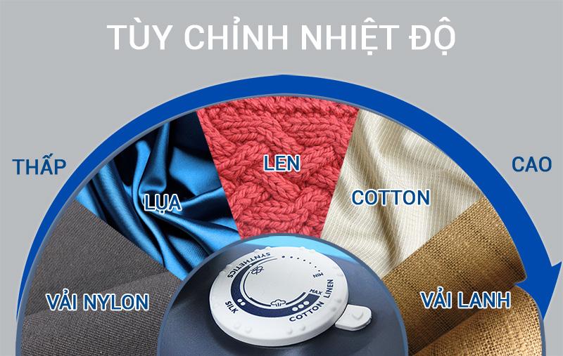 Nút điều khiển dạng xoay dễ sử dụng với mức nhiệt phù hợp với nhiều loại vải