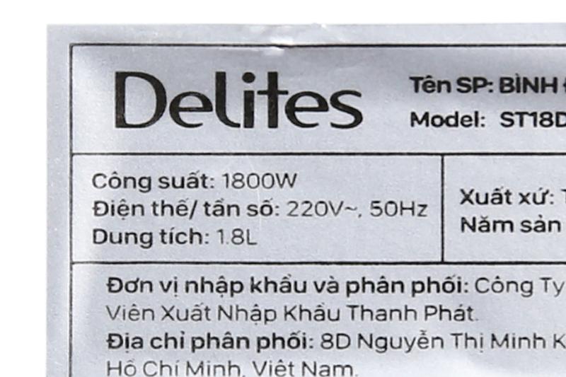 Bình đun siêu tốc Delites ST18DB01-3
