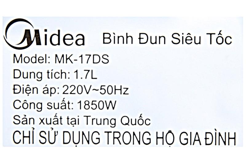 Công suất - Bình đun siêu tốc Midea 1.7 lít MK-17DS