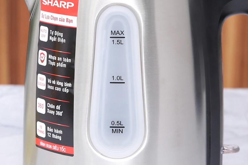 Thang đo mực nước - Bình đun siêu tốc Sharp 1.5 lít EKJ-15EVS-ST