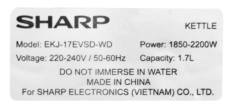 Công suất - Bình đun siêu tốc Sharp 1.7 lít EKJ-17EVSD-WD