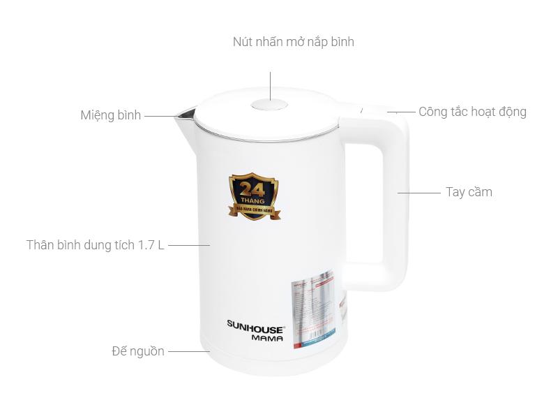 Thông số kỹ thuật Bình đun siêu tốc Sunhouse Mama 1.7 lít SHD1386 Trắng