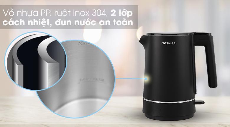 Bình đun siêu tốc Toshiba 1.5 lít KT-15DS1NV - Chất liệu tốt