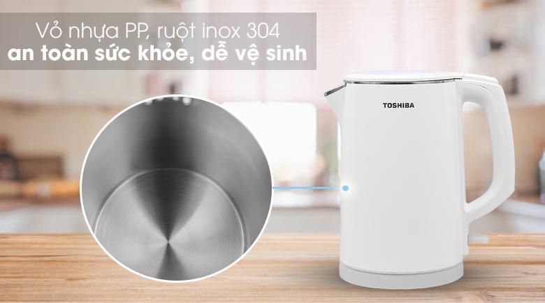 Bình đun siêu tốc Toshiba 1.5 lít KT-15DS1PV - Sử dụng bền bỉ, an toàn cho sức khỏe